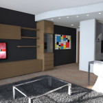 ZONA LIVING CON CUCINA IN OPEN SPACE E CONTROSOFFITTO AD ONDA CON FARETTI LED AD INCASSO