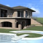 Villa con piscina con gradini