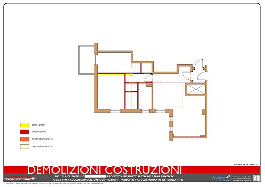 Pianta demolizioni e ricostruzioni for Esempi di ristrutturazione appartamento