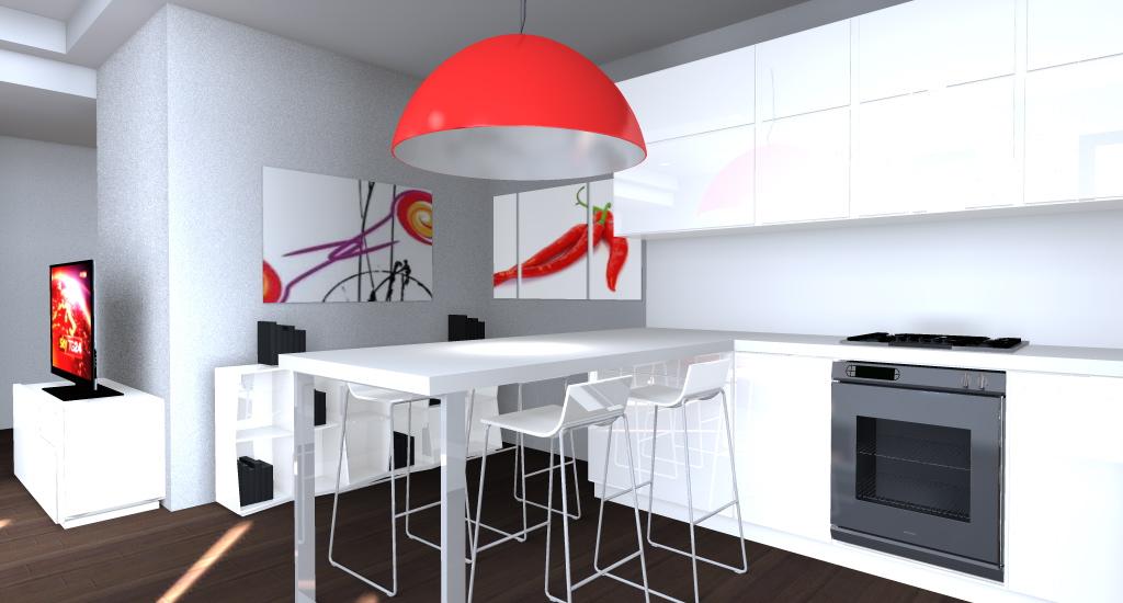 cucina bianca con lampada centrale rossa