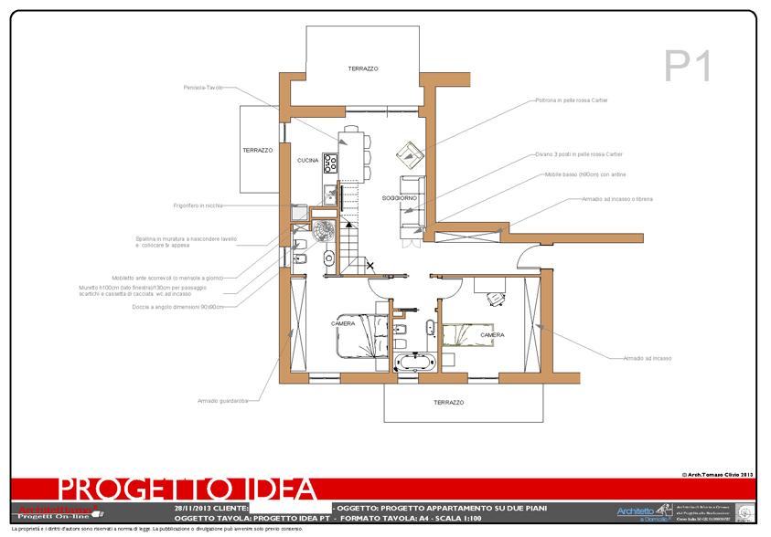 Appartamento su due piani esempio di progetto online for Piano terra di 500 piedi quadrati