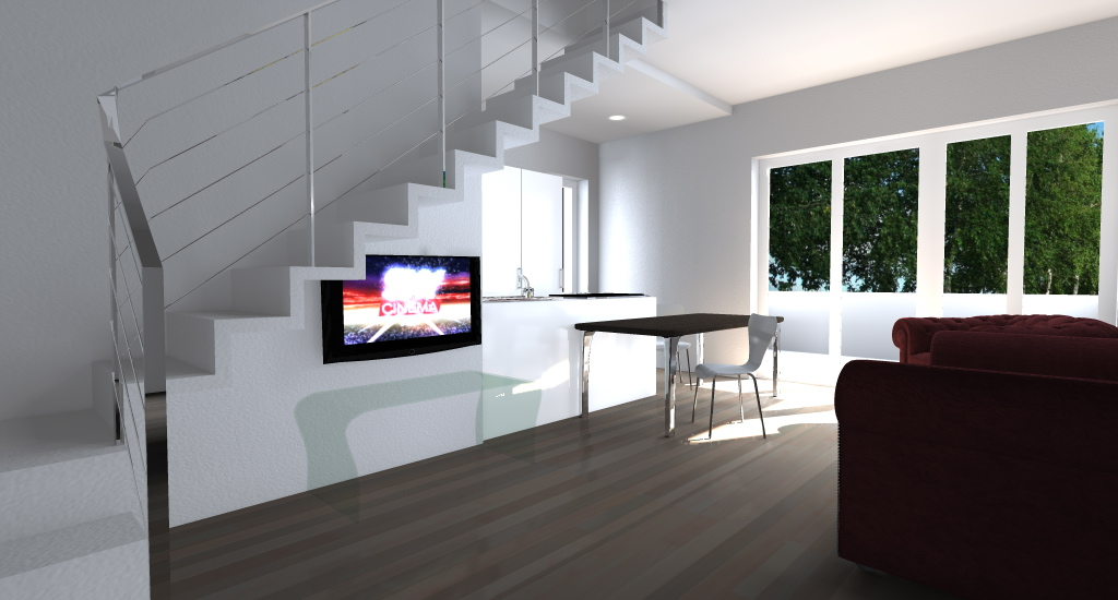 SCALA: scenopgrafica, passante sopra la televisione appesa alla parete.