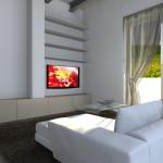 SOGGIORNO: TV APPESA, DIVANO BIANCO A PENISOLA