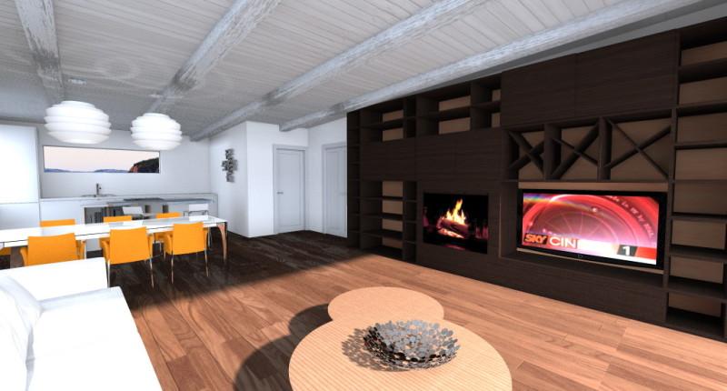 SOGGIORNO: parete attrezzata in legno tipo zebrano, parquet scuro e soffitto in legno con travi di colore bianco