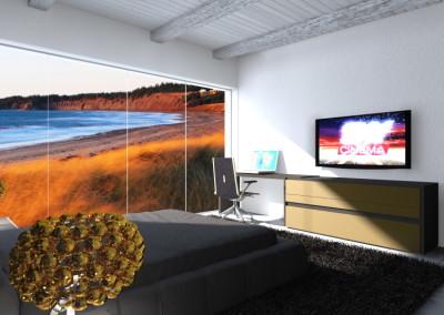 Camera Matrimoniale con scrittoio e mobili TV