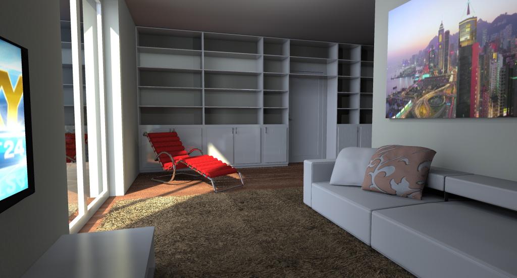 Zona Living Moderna con Libreria su Misura