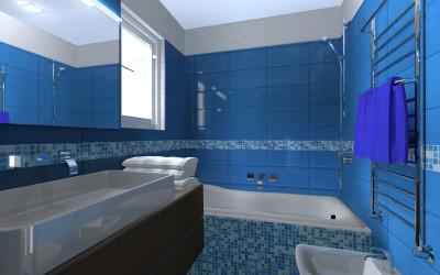 Bagno Blu con dettagli in Mosaico