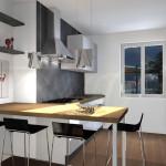 Cucina Moderna con piano d'appoggio in legno rovere
