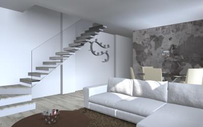 Zona Living con Scala a Sbalzo