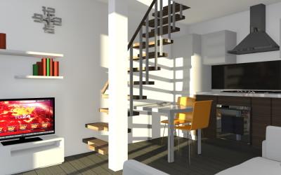 Piccolo Open Space con scala in legno