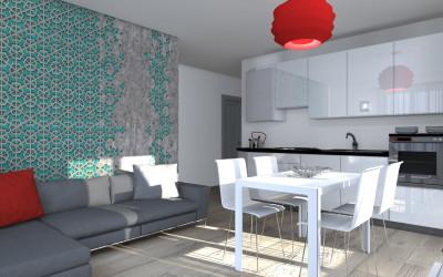 Zona Living Open Space con cucina e tappezzeria wall&decò