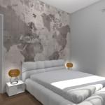Interior Design di Camera Matrimoniale con tappezzeria Cartina Geografica e Cabina Armadio