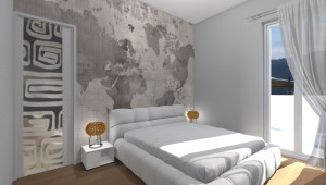 Interior Design: camera matrimoniale con tappezzeria cartina geografica e cabina armadio