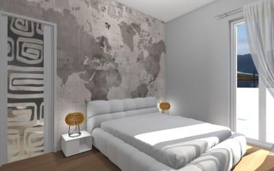 Camera Matrimoniale con tappezzeria Cartina Geografica e Cabina Armadio