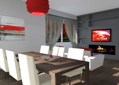 Zona Pranzo e Living con Televisone posizionata sopra al camino in bioetanolo