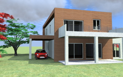 Casa Moderna Cubica con Porticato e Tettoia per auto