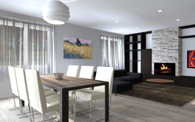 Zona living moderna con colori caldi e Camino in pietra