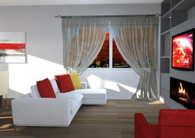 Zona Living con tv sopra Camino in bioetanolo