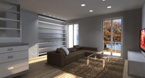 Zona Living con illuminazione a faretti