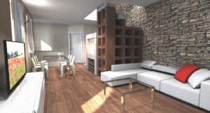 Progettazione Interni: soggiorno con scala e camino