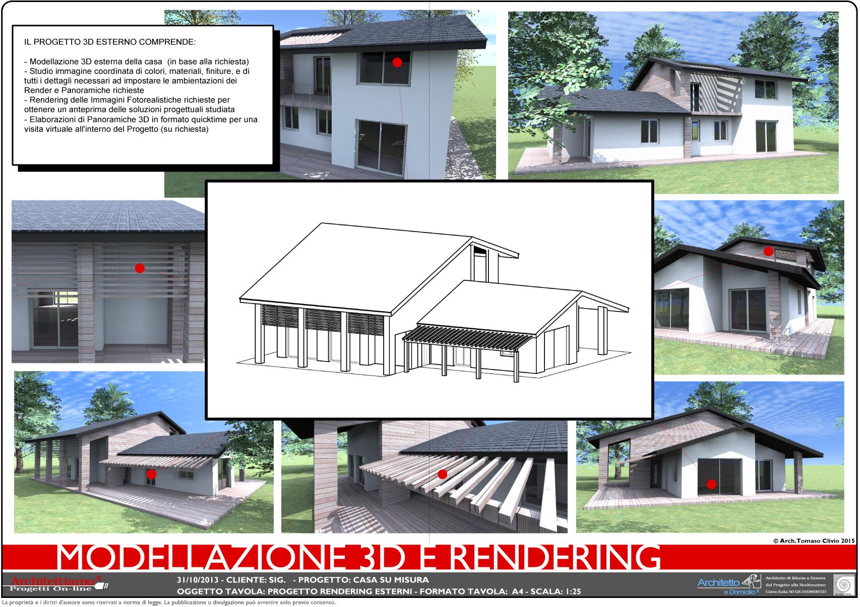 Modellazione 3d esterna architettiamo progetti online for Progetto arredo casa on line