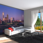 Interior Design di Zona Living con grafica New York