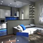 Progettazione interni Open Space con faretti diviso da muretto
