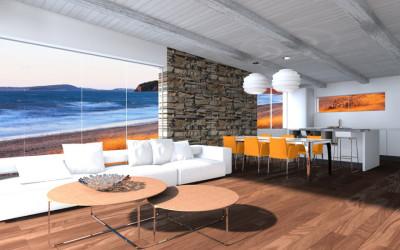 Zona living Moderno con Parquet
