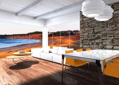 Interior Design di Zona Living Moderna con Vista Mare