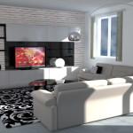 Zona Living Moderna con colori chiari