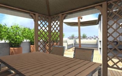Terrazzo Esterno Attrezzato con Gazebo e Tavolo in legno