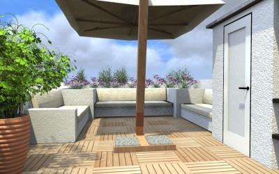 Terrazzo attrezzato con divano per esterni e Tenda