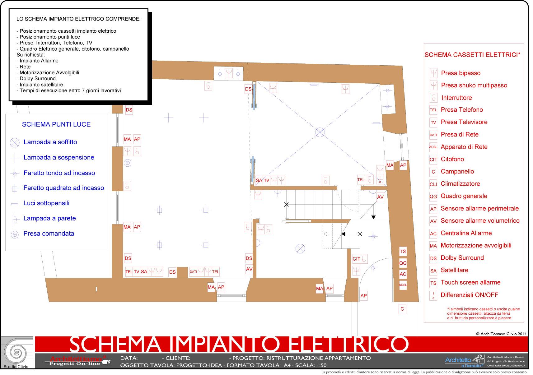 Schema impianto elettrico appartamento dwg la scelta for Schema impianto elettrico casa