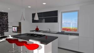 Interior Design: cucina moderna bianca con piano in granito