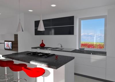 cucina con piano in granito