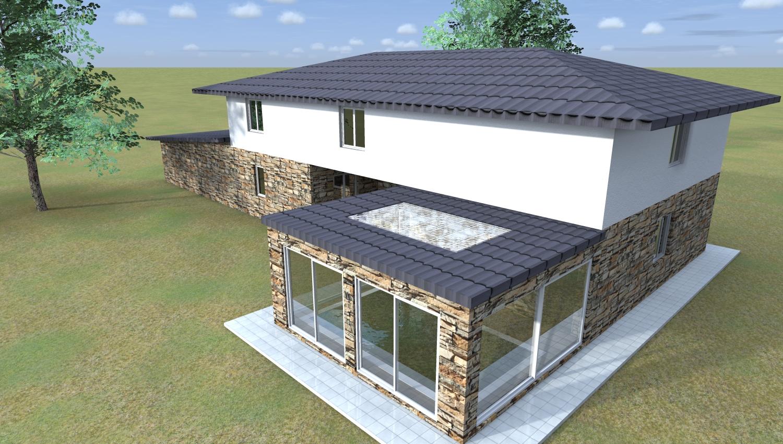 Esempi di progetti 3d di costruzione architettiamo for A forma di piani di casa con piscina