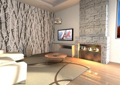 zona living moderna con parete in pietra e camino