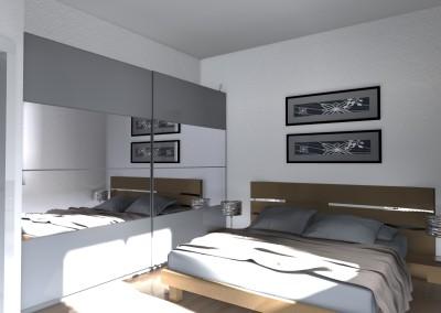 Interior Design di Camera matrimoniale con armadio ante scorrevoli