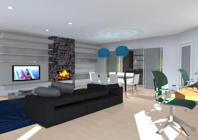 Zona living con scrivania