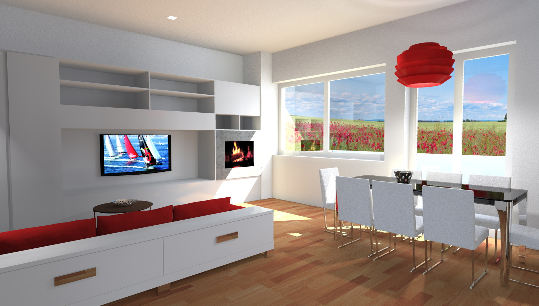 Esempi di progetti 3d di arredare architettiamo progetti online - Parete con camino ...