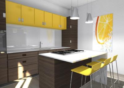 Cucina gialla e legno