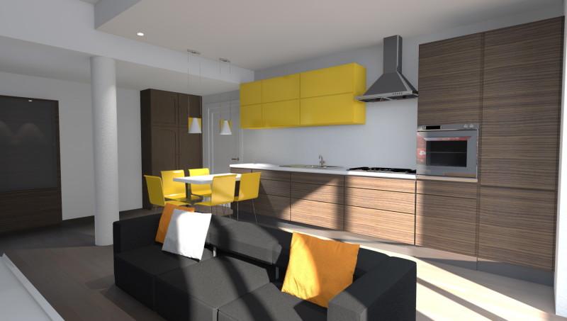 esempi di progetti 3d di arredare - architettiamo progetti online - Soggiorno Cucina Con Camino