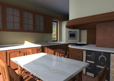 Cucina classica in legno con cappa curva