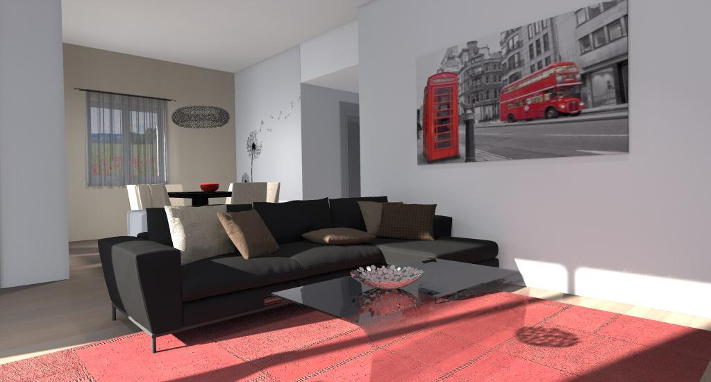 Esempi di progetti 3d per arredare casa architettiamo for Parete colorata salotto