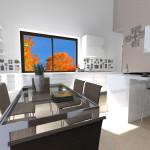 Cucina con isola e tavolo, personalizzata da stickers