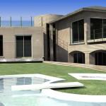 Villa con piscina moderna