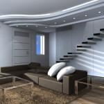 Progettazione interni living scala sbalzo