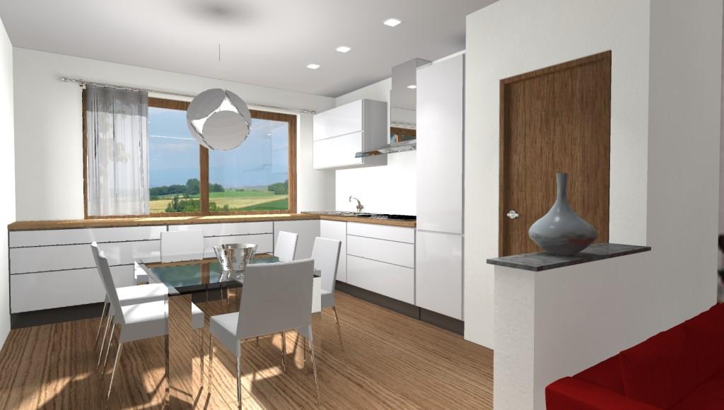 cucina bianca laccata con piano in legno