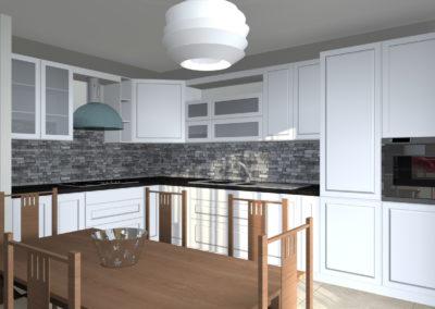 cucina bianca classica con dettagli moderni