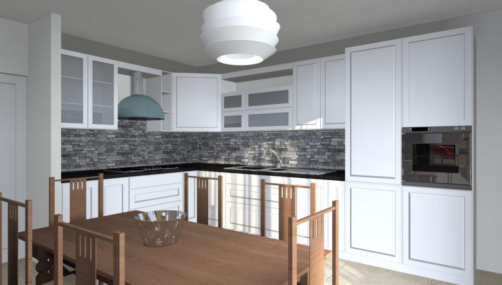 Esempi di progetti 3d di ristrutturazione architettiamo for Cucina classica bianca